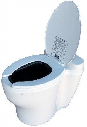 Elongated dry toilet with open seat